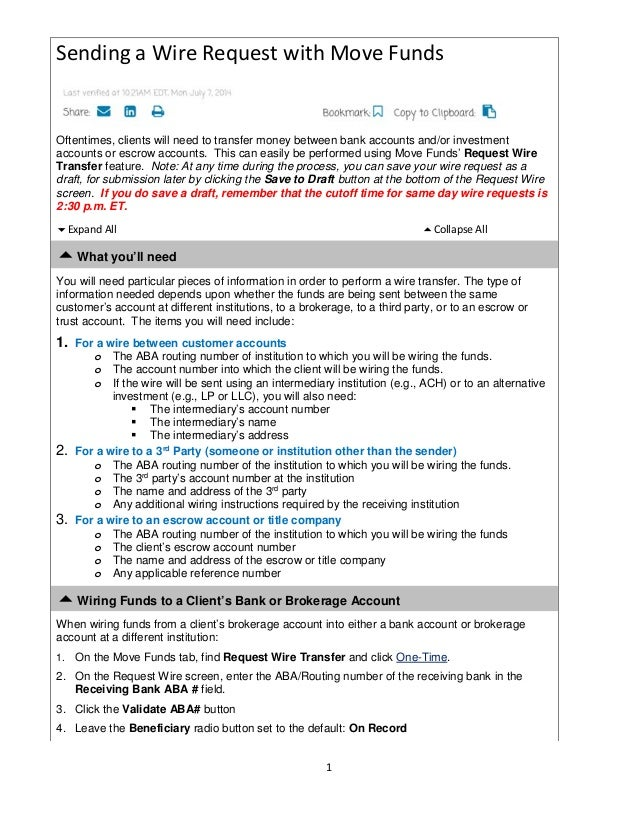 wire transfer instructions rh slideshare net Return of Escrow Money Return of Escrow Money