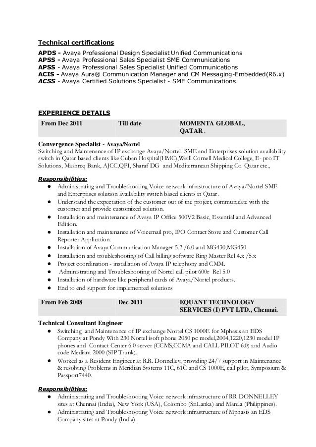 Experience On Exchange And O Resume