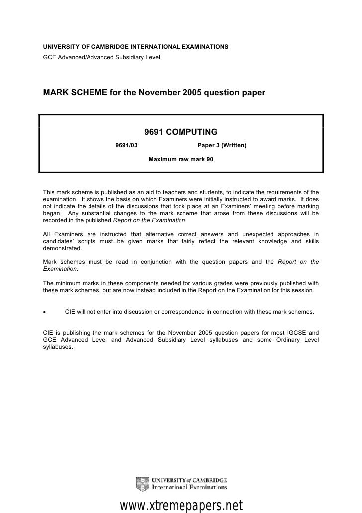 UNIVERSITY OF CAMBRIDGE INTERNATIONAL EXAMINATIONSGCE Advanced/Advanced Subsidiary LevelMARK SCHEME for the November 2005 ...