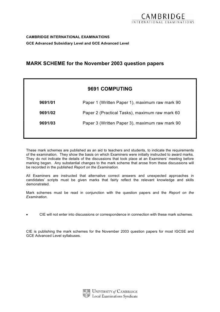 CAMBRIDGE INTERNATIONAL EXAMINATIONSGCE Advanced Subsidiary Level and GCE Advanced LevelMARK SCHEME for the November 2003 ...