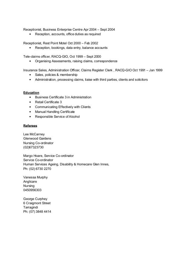 Aged Care Resume Anglicare