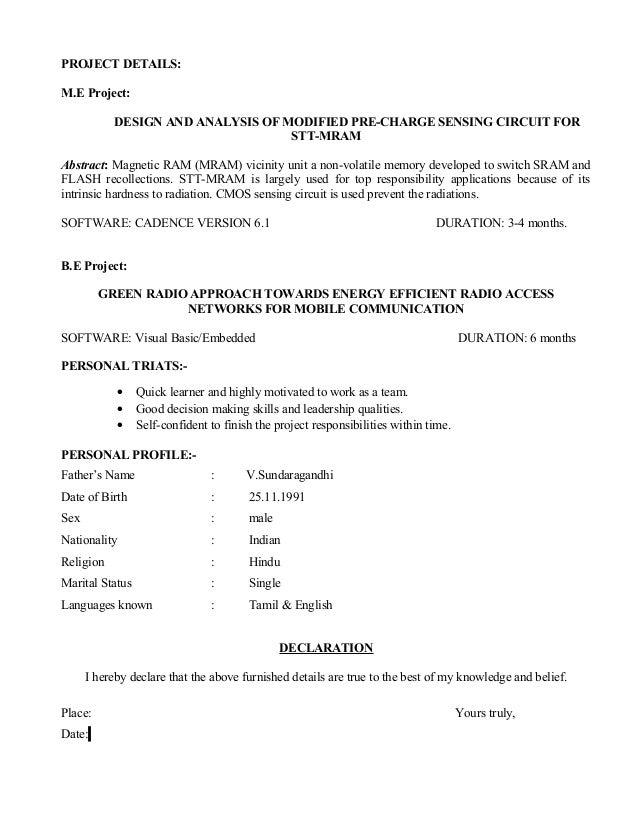 ME Final Resume - Resume me