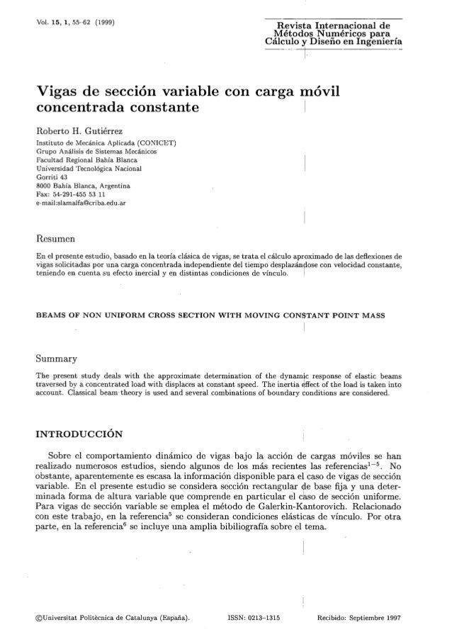 Vol. 15, 1,55-62 (1999) Revista Internacional de Métodos Nu-méricos para Cálculo y Diseno en Ingeniería Vigas de sección v...