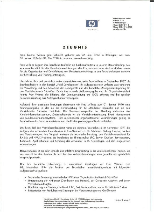 I~ i n v e n t ZEUGNIS Hewlell-Packard GmbH Postfach 1430 71004 Böblingen Telefon (07031) 14-0 Telefax (07031) 14-2999 www...