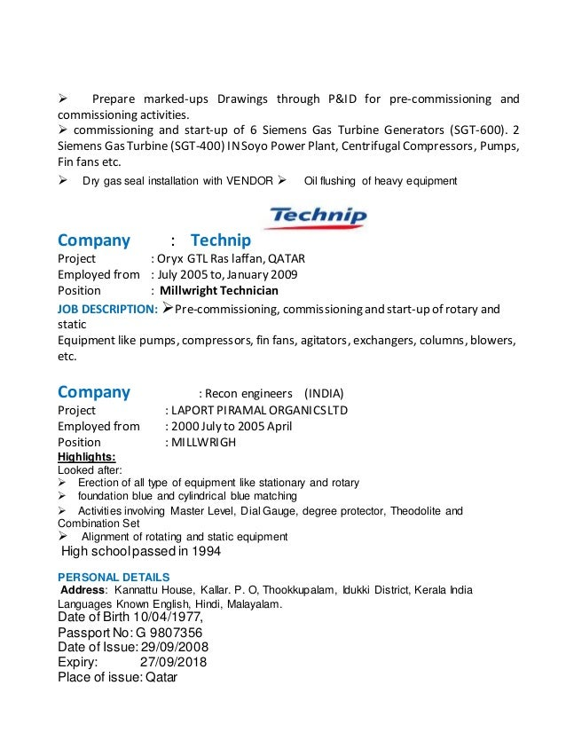 gas technician resume – Heavy Equipment Mechanic Resume