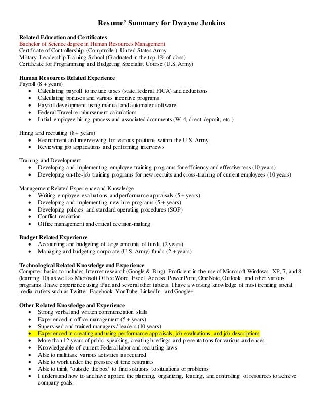 Resumeu0027 Summary For Dwayne Jenkins Related Education And Certificates  Bachelor Of Science Degree In Human ...  Human Resources Resume Summary