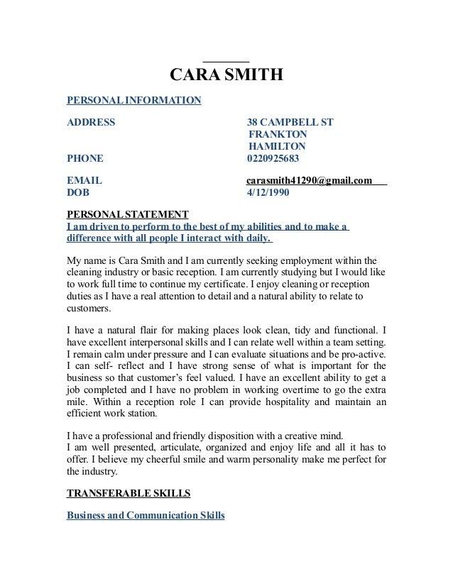 CARA SMITH PERSONAL INFORMATION ADDRESS 38 CAMPBELL ST FRANKTON HAMILTON PHONE 0220925683 EMAIL carasmith41290@gmail.com D...