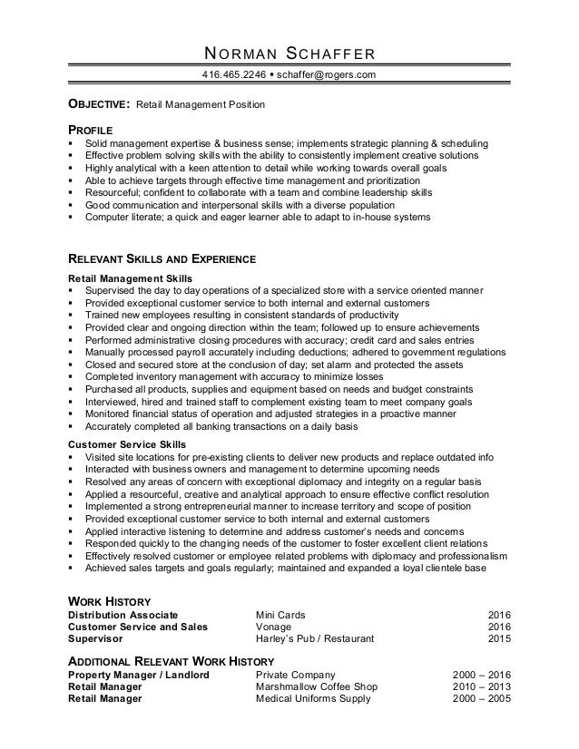 Norman Schaffer Retail Manager Resume