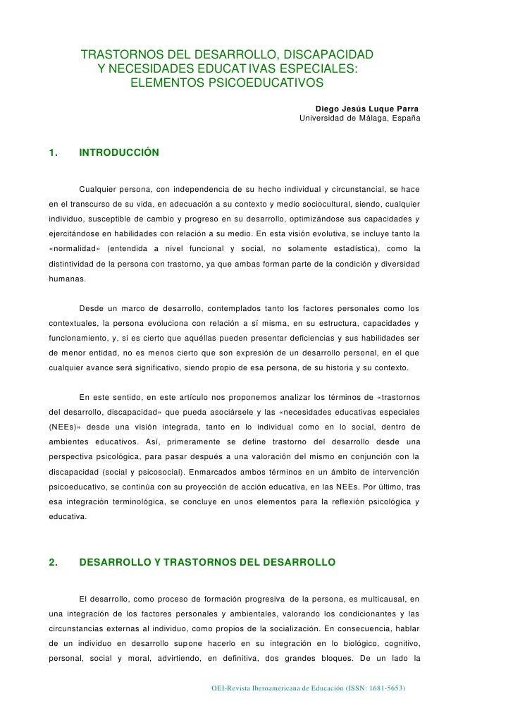 TRASTORNOS DEL DESARROLLO, DISCAPACIDAD           Y NECESIDADES EDUCAT IVAS ESPECIALES:                ELEMENTOS PSICOEDUC...