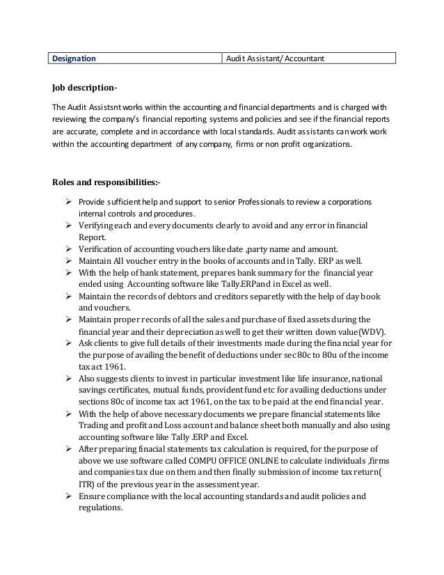 3 Designation Audit Assistant Accountant Job Description   Assistant  Accountant Job Description