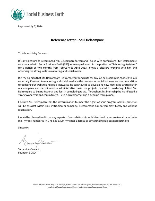 Social Business Earth Recommendation Letter