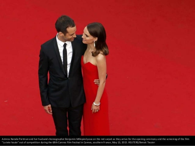Actress Natalie Portman and her husband choreographer Benjamin Millepied pose on the red carpet as they arrive for the ope...