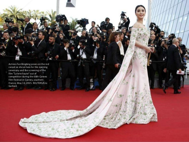 """Actress Fan Bingbing poses on the red carpet as she arrives for the opening ceremony and the screening of the film """"La tet..."""