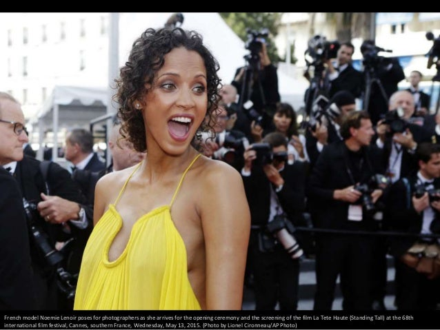 French model Noemie Lenoir poses for photographers as she arrives for the opening ceremony and the screening of the film L...