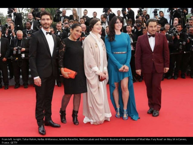 From left. to right. Tahar Rahim, Haifaa Al-Mansour, Isabella Rossellini, Nadine Labaki and Panos H. Koutras at the premie...