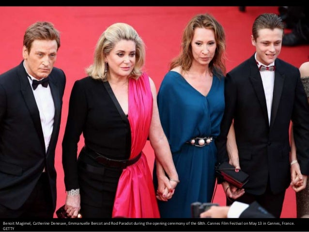 Benoit Magimel, Catherine Deneuve, Emmanuelle Bercot and Rod Paradot during the opening ceremony of the 68th. Cannes Film ...
