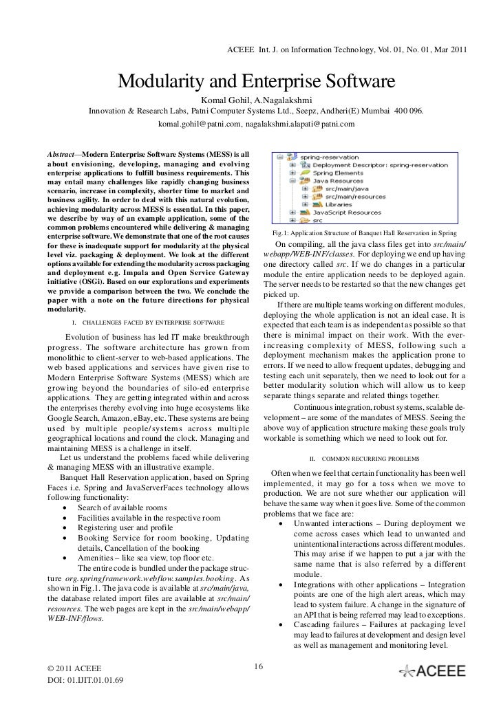 ACEEE Int. J. on Information Technology, Vol. 01, No. 01, Mar 2011                     Modularity and Enterprise Software ...