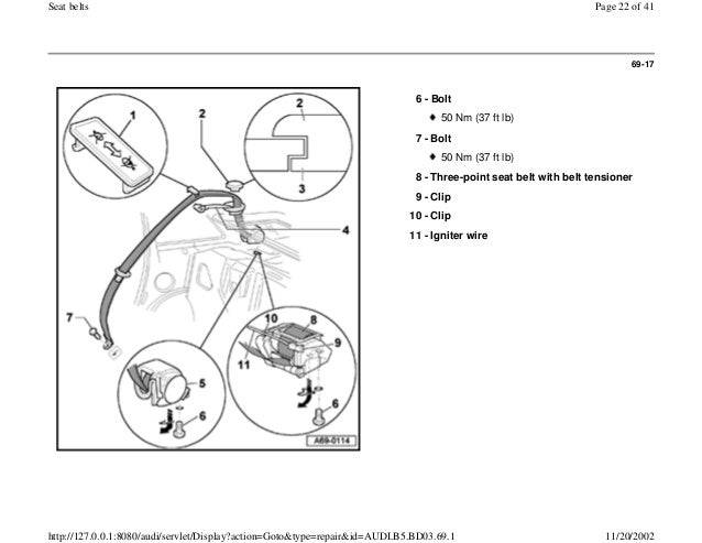 AUDI A4 B5 1.8L 1996 BADY INTERIOR 69 1 seatbelt
