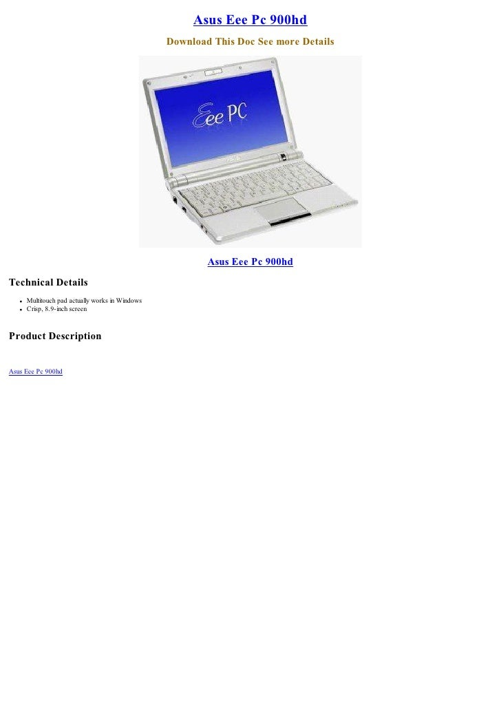 Asus Eee Pc 900hd                                                   Download This Doc See more Details                    ...