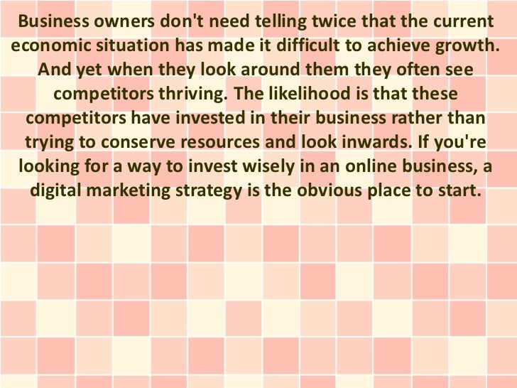 Business owners dont need telling twice that the currenteconomic situation has made it difficult to achieve growth.    And...