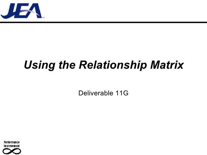 Using the Relationship Matrix Deliverable 11G