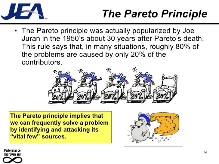 jurans principle Joseph m juran the pareto principle by this time has become deeply rooted in our industrial literature it is a shorthand name for the phenomenon that in any population that contributes to a common effect, a relative few of the contributors account for.