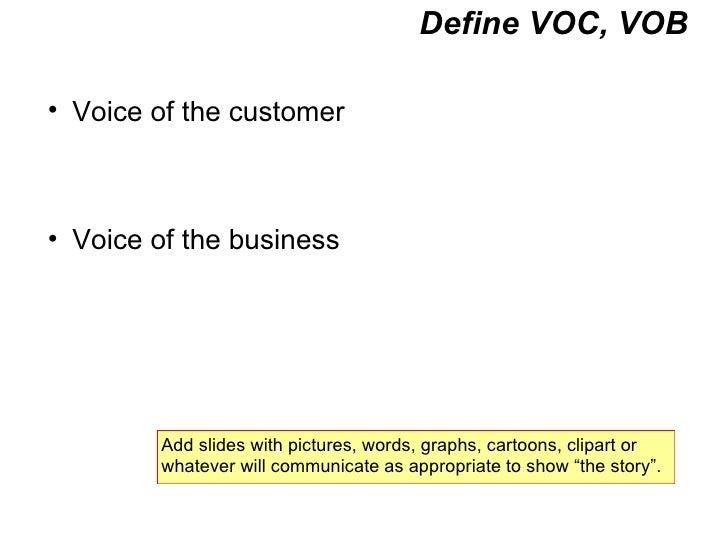Define VOC, VOB <ul><ul><li>Voice of the customer </li></ul></ul><ul><ul><li>Voice of the business </li></ul></ul>Add slid...