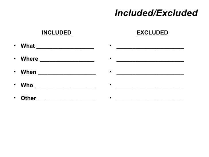 Included/Excluded <ul><li>INCLUDED </li></ul><ul><ul><li>What __________________  </li></ul></ul><ul><ul><li>Where _______...