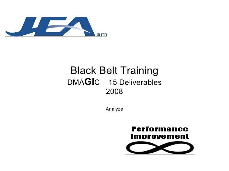 Black Belt Training DMA GI C – 15 Deliverables 2008 Analyze