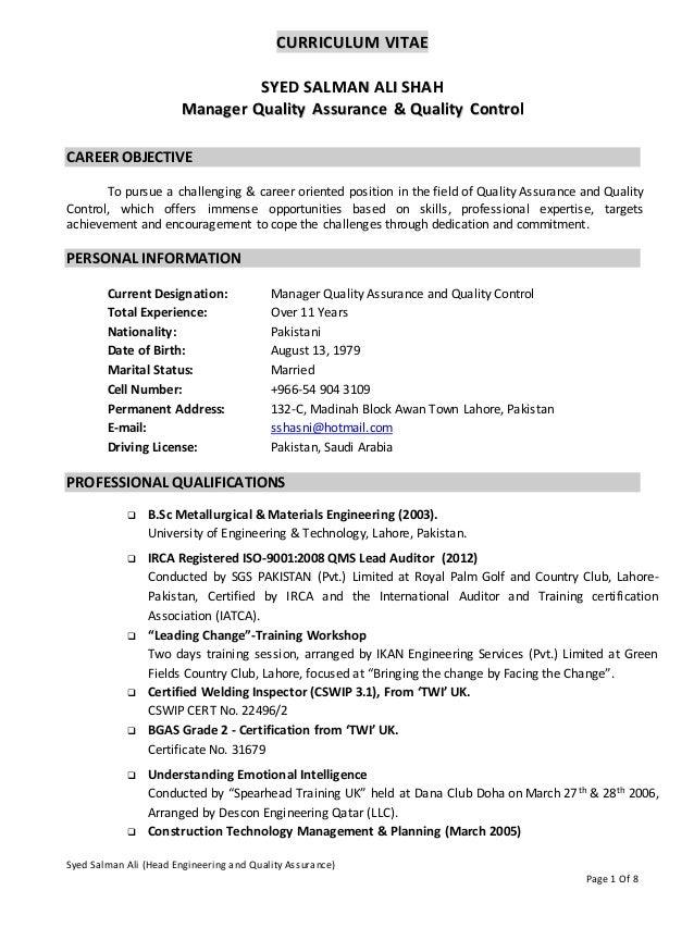 Syed Salman Ali (Head Engineering and Quality Assurance) Page 1 Of 8 CCUURRRRIICCUULLUUMM VVIITTAAEE SSYYEEDD SSAALLMMAANN...