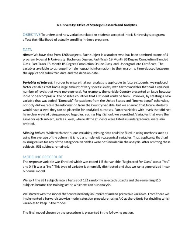 Non Traditional Student Enrollment Analytics