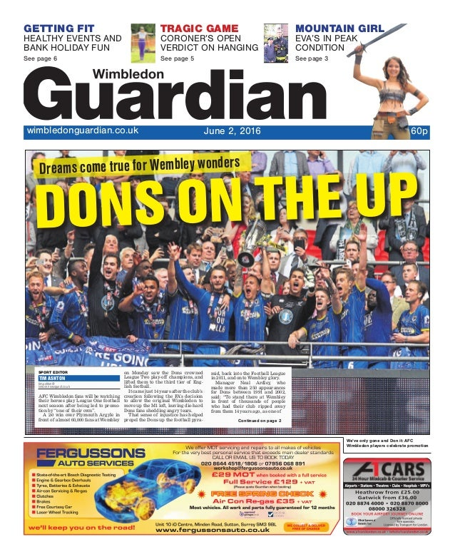 We've only gone and Don it: AFC Wimbledon players celebrate promotion GETTING FIT HEALTHY EVENTS AND BANK HOLIDAY FUN See ...
