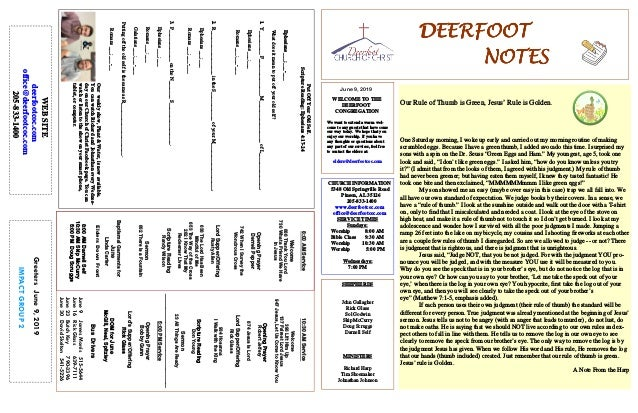 DEERFOOTDEERFOOTDEERFOOTDEERFOOT NOTESNOTESNOTESNOTES June 9, 2019 GreetersJune9,2019 IMPACTGROUP2 WELCOME TO THE DEERFOOT...