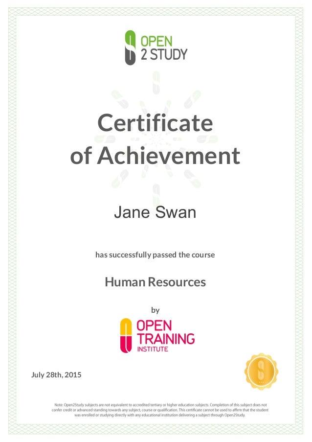 Certificate - Human Resource