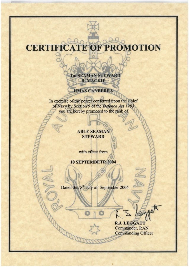 Certificate Of Promotion To Able Seaman