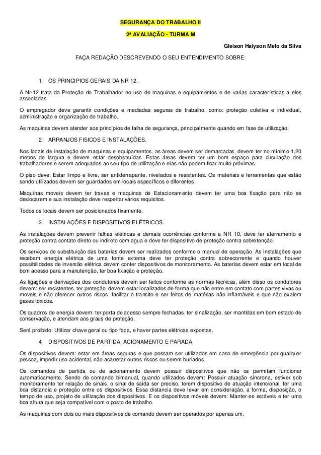 SEGURANÇA DO TRABALHO II                                              2ª AVALIAÇÃO - TURMA M                              ...