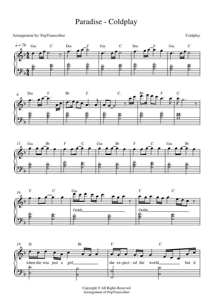 Paradise - ColdplayArrangement by: PopTranscriber                                                                         ...