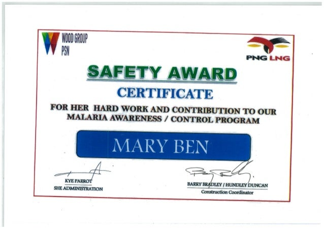 mary ben safety award certificate