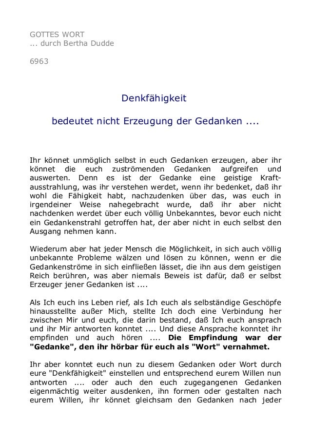 GOTTES WORT  ... durch Bertha Dudde  6963  Denkfähigkeit  bedeutet nicht Erzeugung der Gedanken ....  Ihr könnet unmöglich...