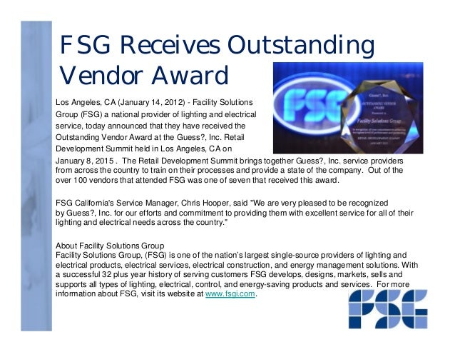 FSG Receives Outstanding Vendor Award Los Angeles CA (January 14 2012) -  sc 1 st  SlideShare & FSG Guess Award 012215