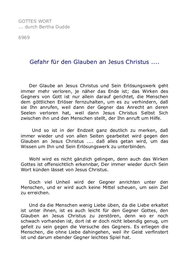GOTTES WORT  ... durch Bertha Dudde  6969  Gefahr für den Glauben an Jesus Christus ....  Der Glaube an Jesus Christus und...
