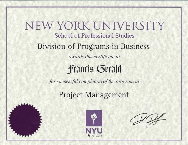 Nyu Project Management Certificate Francis Gerald
