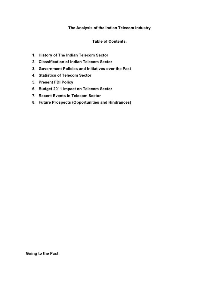 The Analysis of the Indian Telecom Industry                                     Table of Contents.   1. History of The Ind...