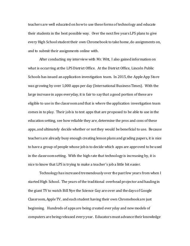 teacher interview writing sample