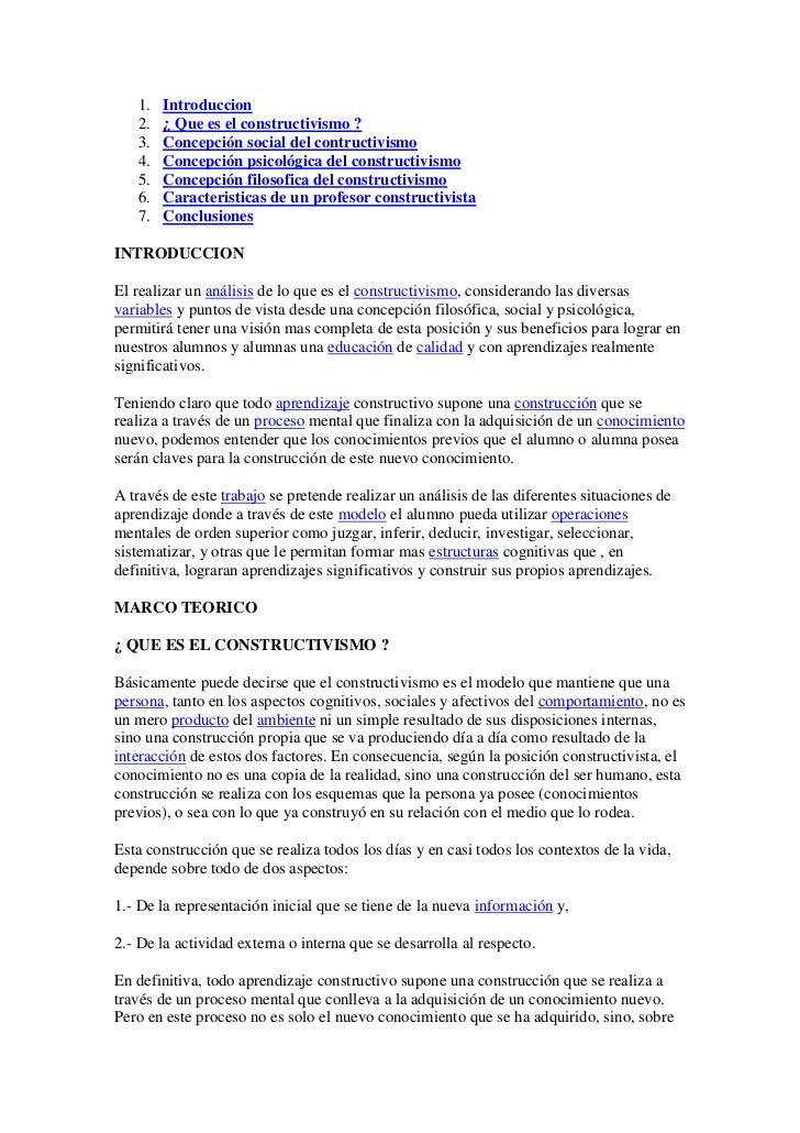 1.   Introduccion   2.   ¿ Que es el constructivismo ?   3.   Concepción social del contructivismo   4.   Concepción psico...