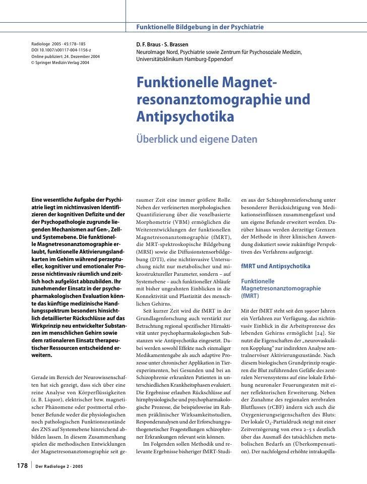 Funktionelle Bildgebung in der Psychiatrie    Radiologe 2005 · 45:178–185                  D. F. Braus · S. Brassen    DOI...