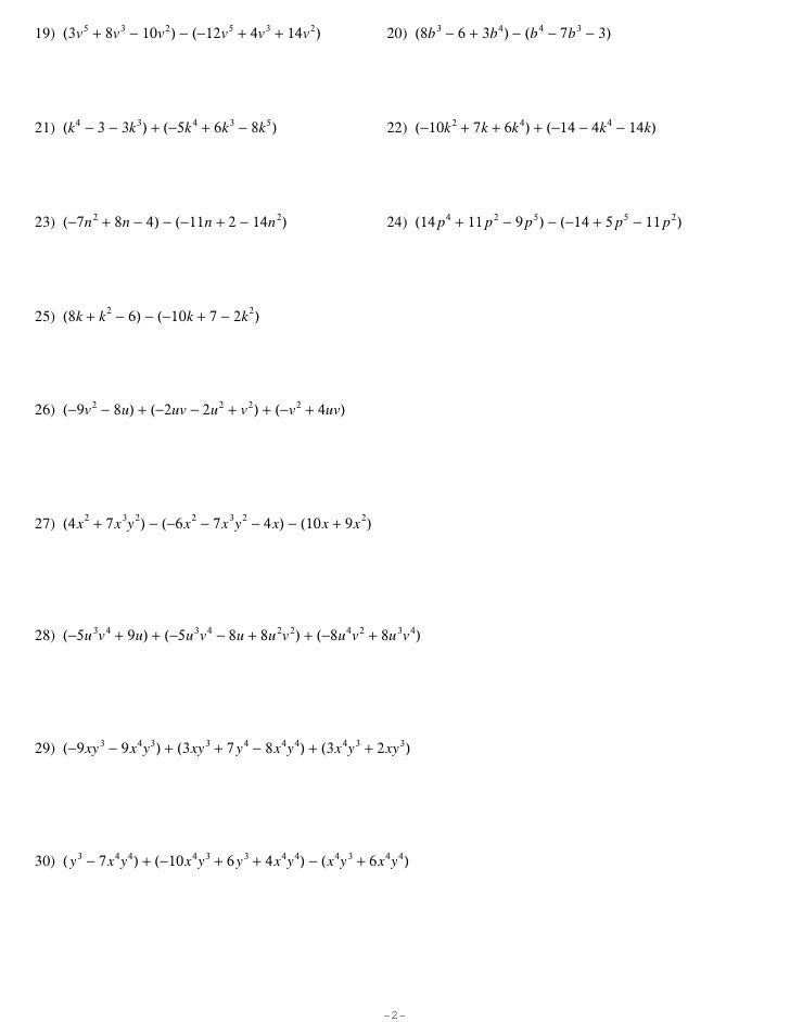 AddingSubtracting Polynomials – Subtracting Polynomials Worksheet