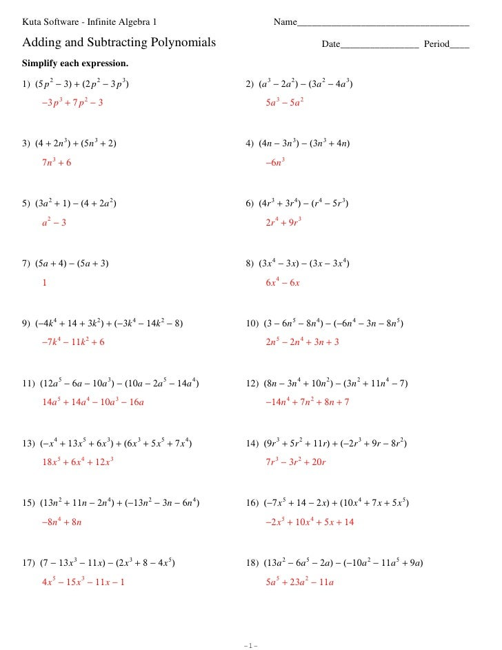 Polynomials Worksheet Kuta - polynomials worksheets kuta and ...