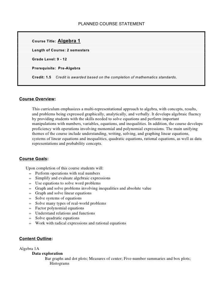 PLANNED COURSE STATEMENT       Course Title:   Algebra 1       Length of Course: 2 semesters       Grade Level: 9 - 12    ...