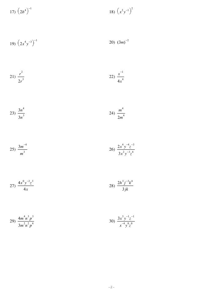 Exponents Worksheets Kuta: Properties of Exponents,